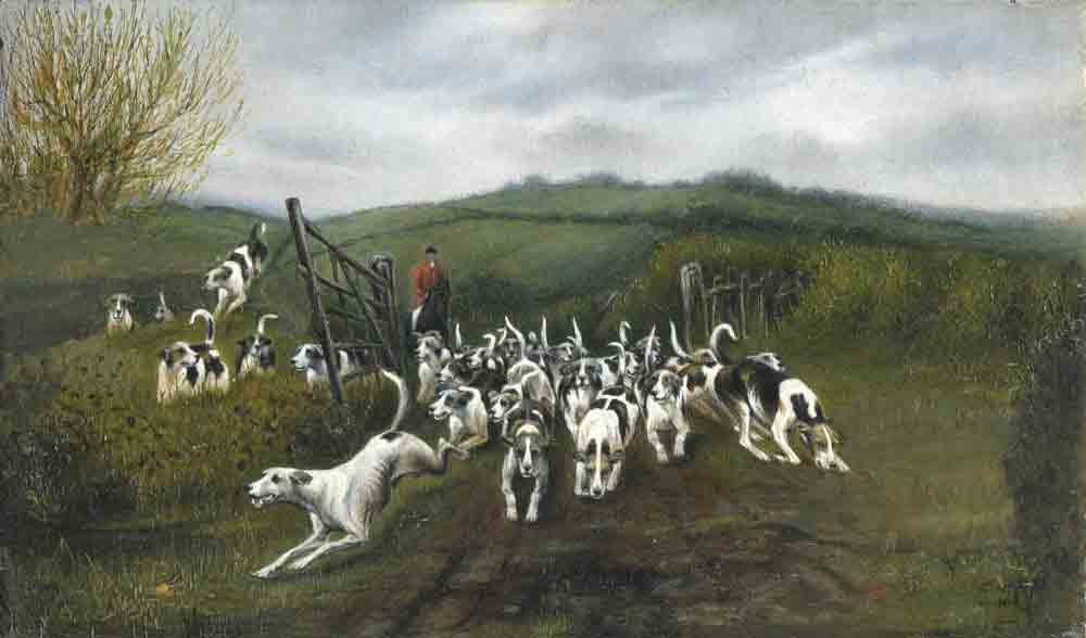 A painting of dogs being released on a fox hunt.