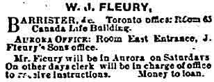 A newspaper clipping advertising the services of a Barrister.