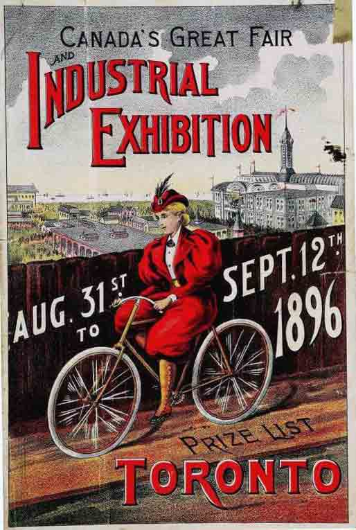 A boldly coloured poster with a woman in red on a bicycle advertising an industrial exhibition.