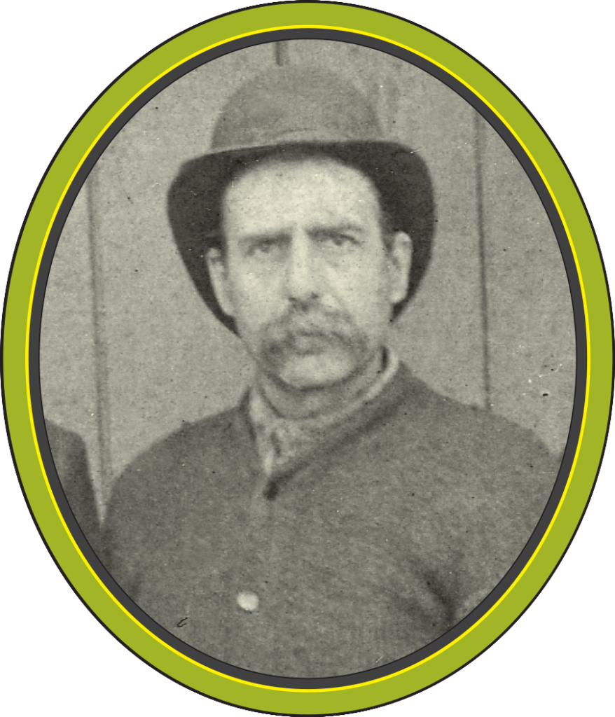 A black and white photograph of a man with a moustache and bowler hat with his jacket buttoned up to the top.