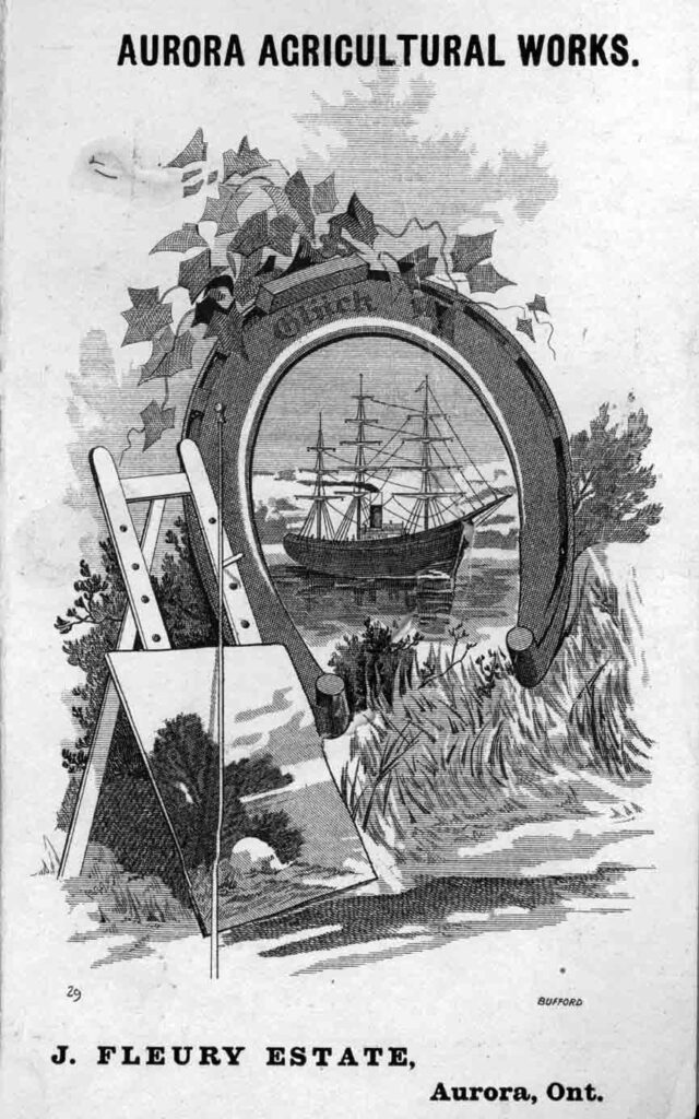 A black and white ink advertisement with the image of a ship inside a large horseshoe