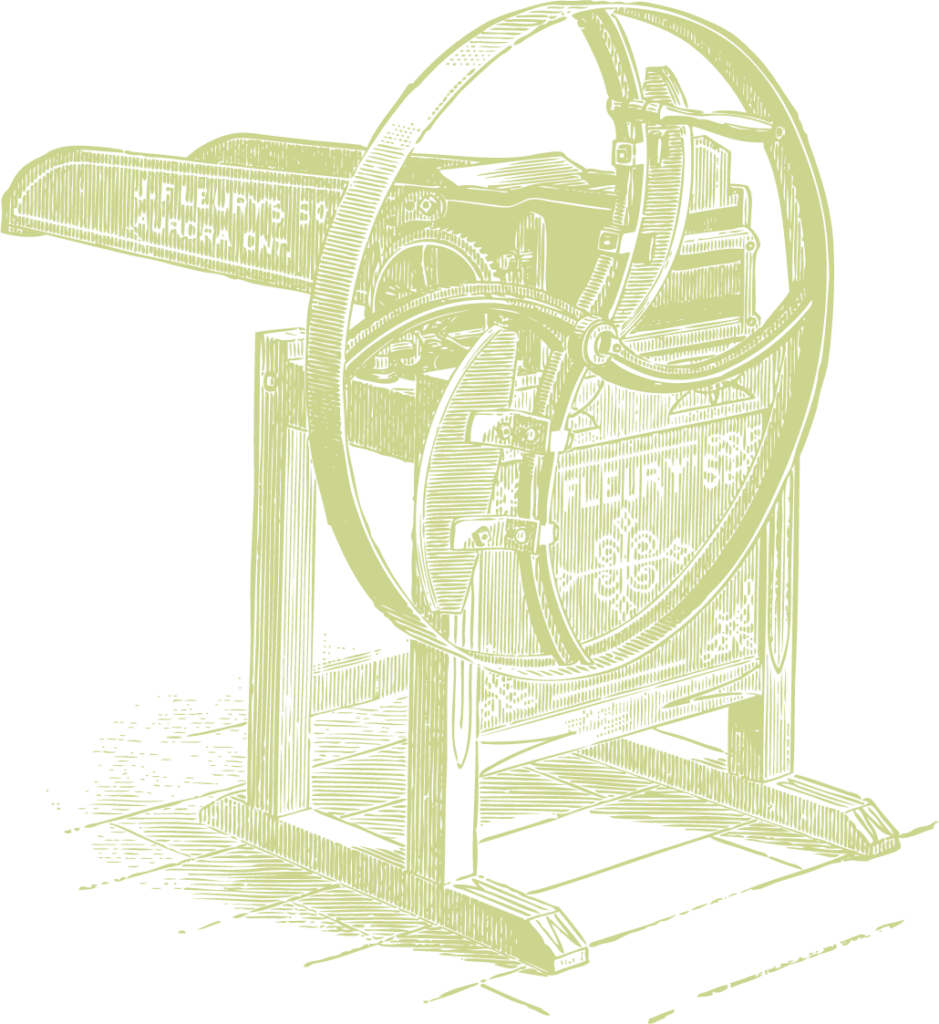 A graphical image of a farm implement with a large flywheel.