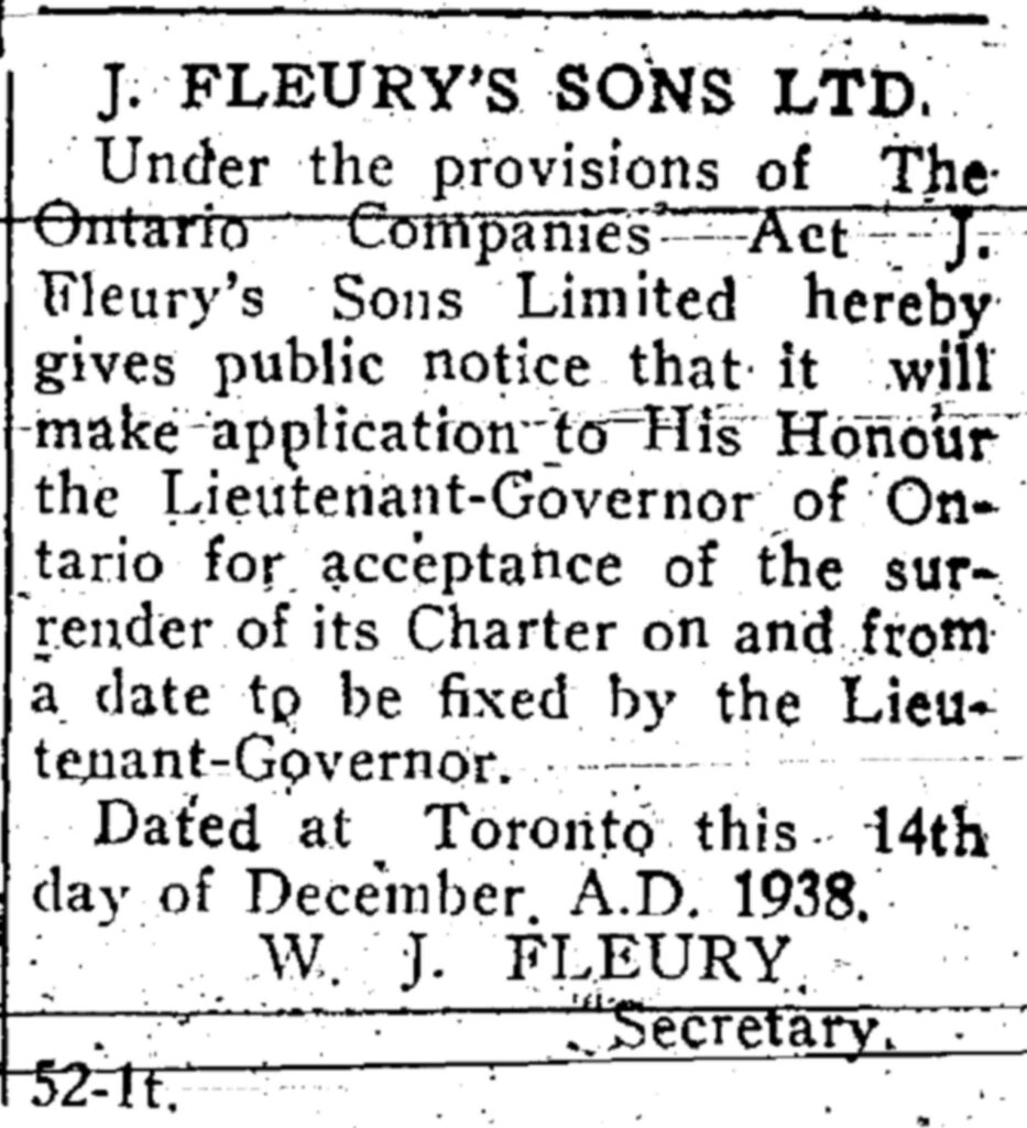 A clipping from a newspaper notice about J. Fleury's Sons.