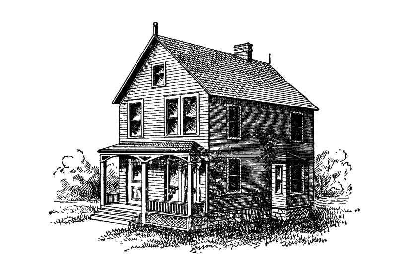 A graphical image of an old house.