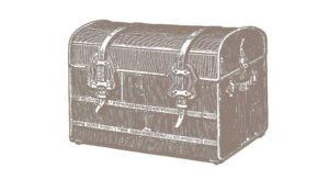 A graphical image of a steamer trunk with leather straps.