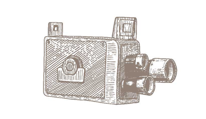 A graphical image of a three-lensed home movie camera.