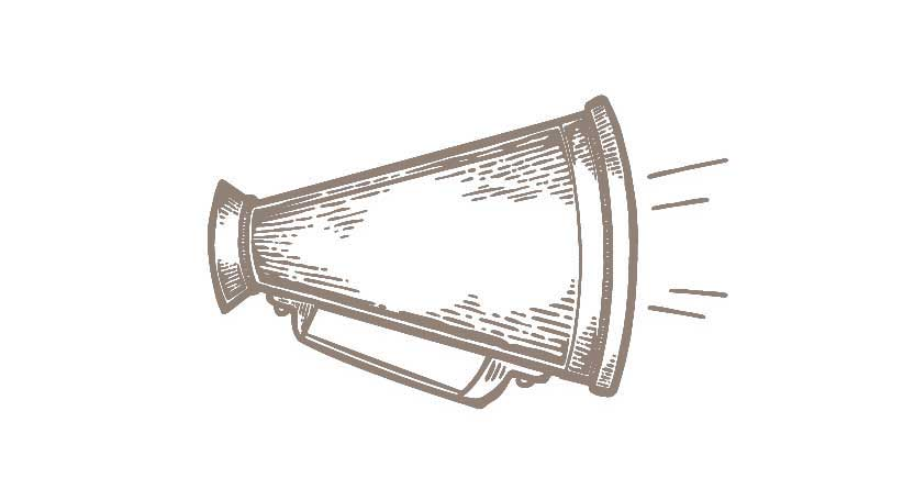 A graphical image of a manual megaphone.