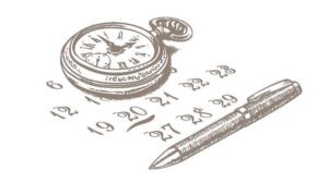 A graphical image of a pocket-watch and a pen