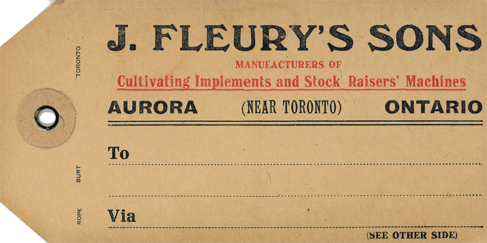 A paper tag with a hole for a string, for attachment to farm implements made by J. Fleury's Sons.