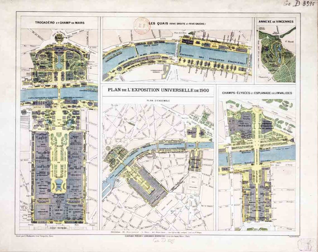 A map printed in light pink, purple, blue and yellow of the grounds of the 1900 Paris Exhibition.