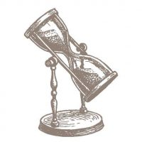 A graphical image of an hourglass on a rotating stand.