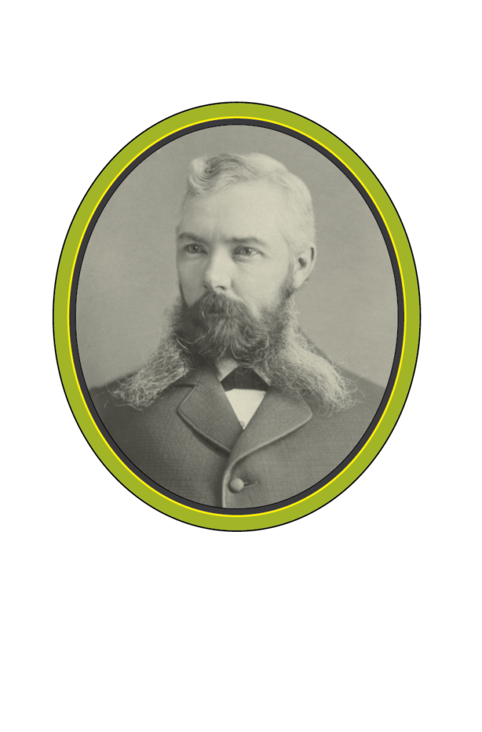 A black and white portrait photograph of a man with short hair and a long beard split in the middle