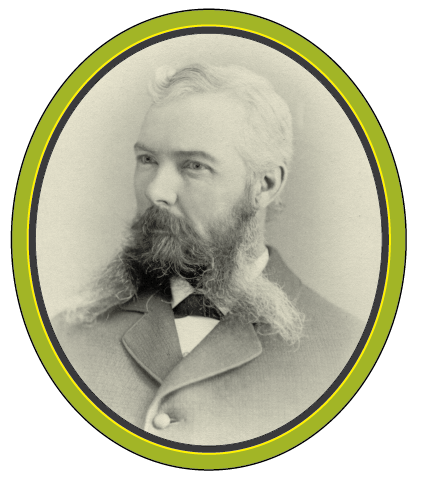 A black and white photograph of a man with a long beard split up the middle.