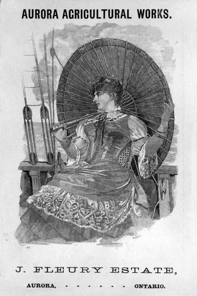 A black and white ink advertisement featuring a lady holding a parasol while on a boat.