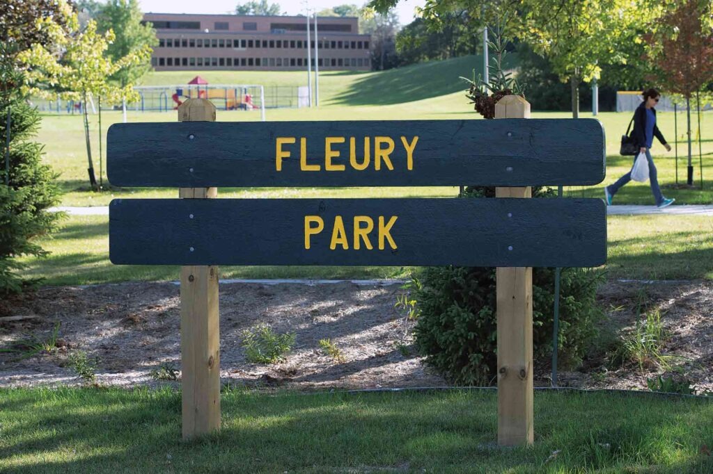 A photograph of a sign for a town park made of two separate horizontal planks painted green, letters are painted yellow.