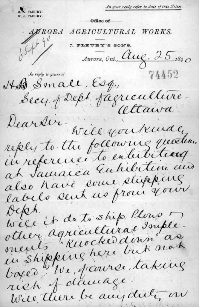 A letter handwritten in clear large cursive, letterhead is from Aurora Agricultural Works.