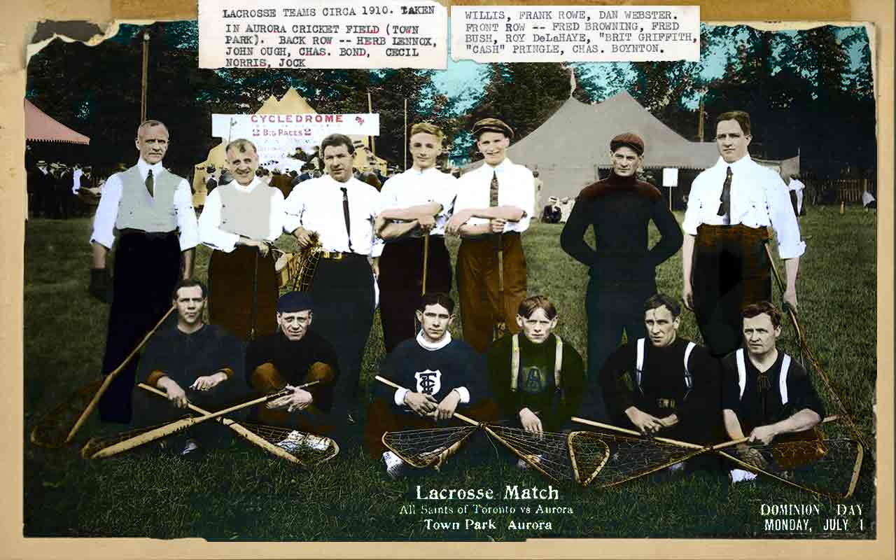 A colourized team photo of a lacrosse team with text glued to the photo.