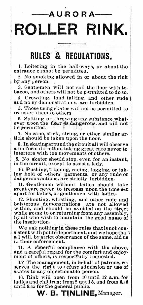 opening of rink rules 18 dec 1885 banner