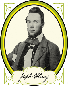 A black and white portrait of a man with a loose bowtie in an elliptical frame of yellow and green.