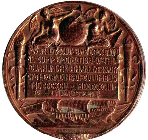 A copper medal with relief details - text between two torches, with a ship beneath, and angels above.