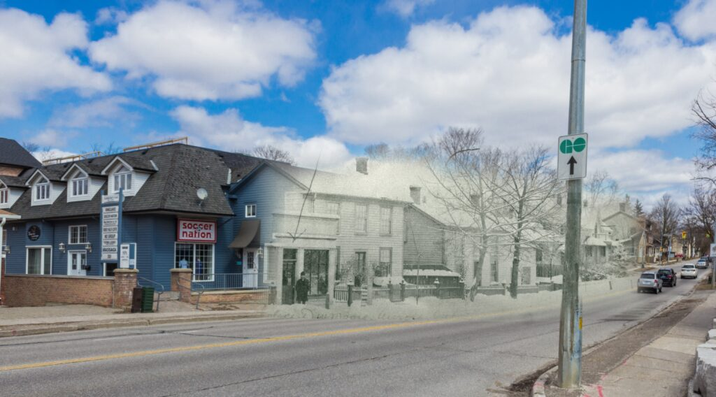 A photograph edited to combine an old and new photo of the same location: a street with houses and businesses, one man stands outside, cars in the distance.
