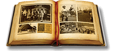graphic image of a sepia tone open book with images