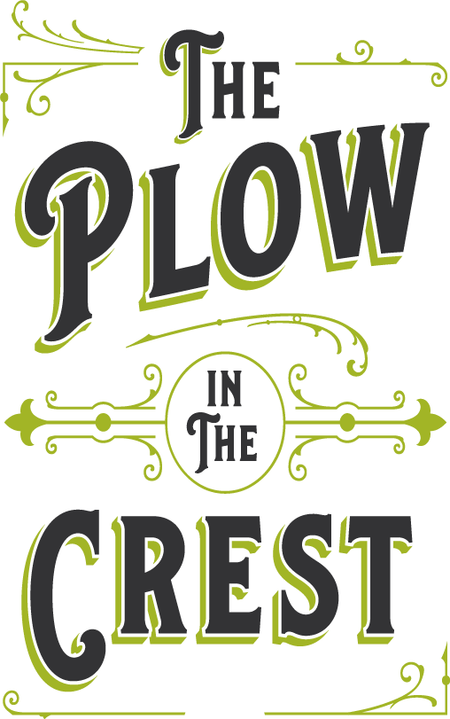 A black and light green logo for the museum exhibit The Plow in the Crest.