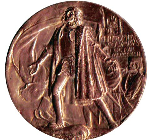 A copper medal with relief of Christopher Columbus stepping onto land.
