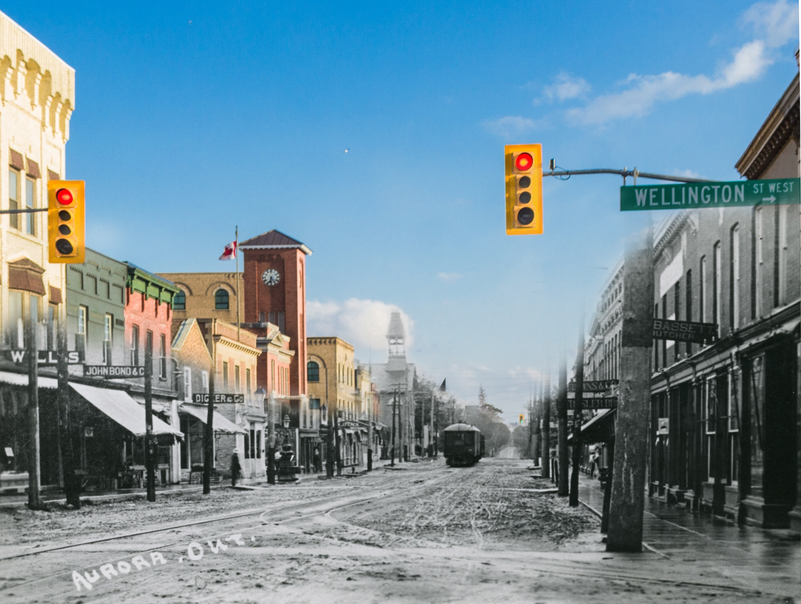 A photograph edited to combine an old and new photo of the same location: a street lined with shops, a streetcar is in the distance, people are on the far side.