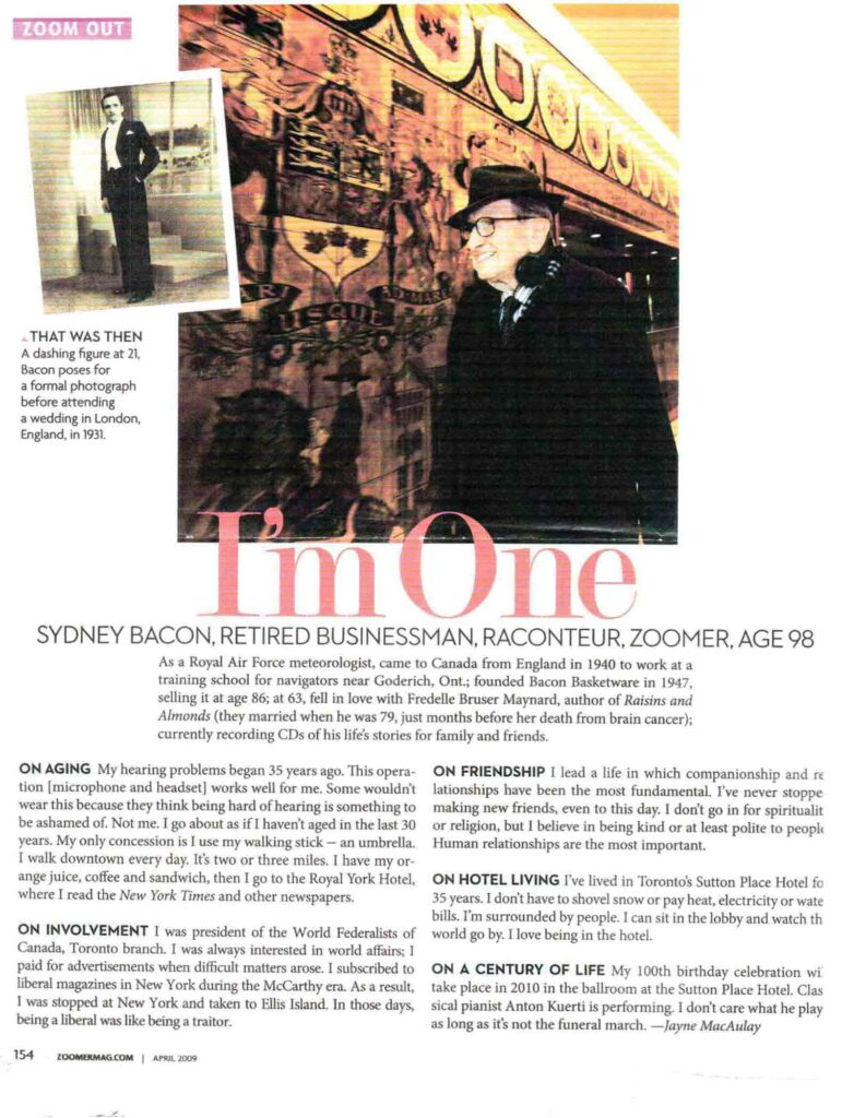 A page from a magazine with an article about a politically active man nearing his 100th birthday.